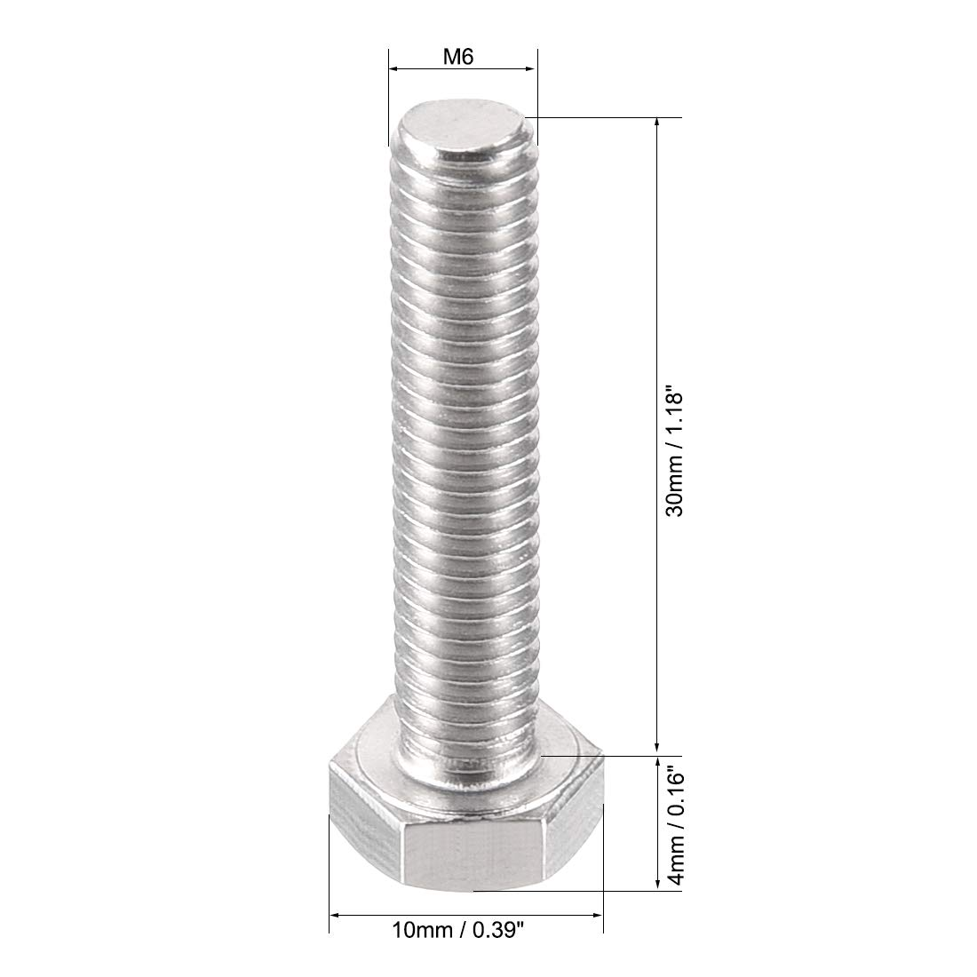 sourcing map M6 Thread 30mm 304 Stainless Steel Hex Left Hand Screw Bolts Fastener 2pcs