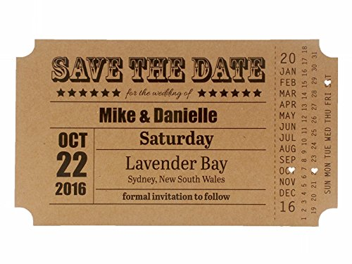 Summer-Ray 36 Rustic Brown Kraft Vintage My Big Day Ticket Wedding Save the Date Cards Date Ticket