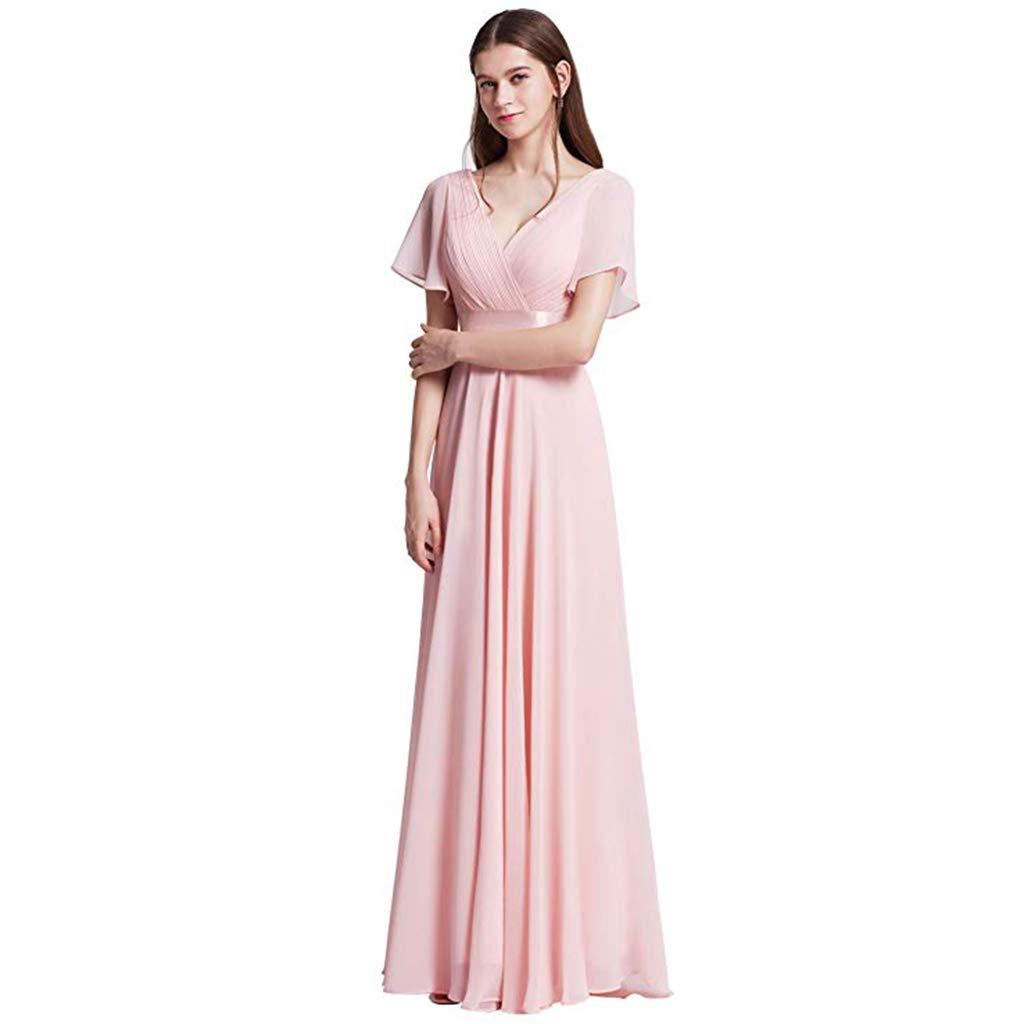 08f4aeb0336 Long Empire Waist Evening Dress With Short Flutter Sleeves