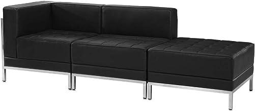 Flash Furniture HERCULES Imagination Series Black LeatherSoft 3 Piece Chair Ottoman Set