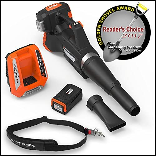 YARD FORCE Lithium-Ion Blower with Push-Button Speed Control – Complete with Battery and Fast Charger Included