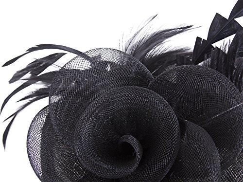 Vijiv Women Vintage Derby Fascinator Hat Pillbox Headband Feather Cocktail Tea Party,Black,One Size by Vijiv (Image #4)