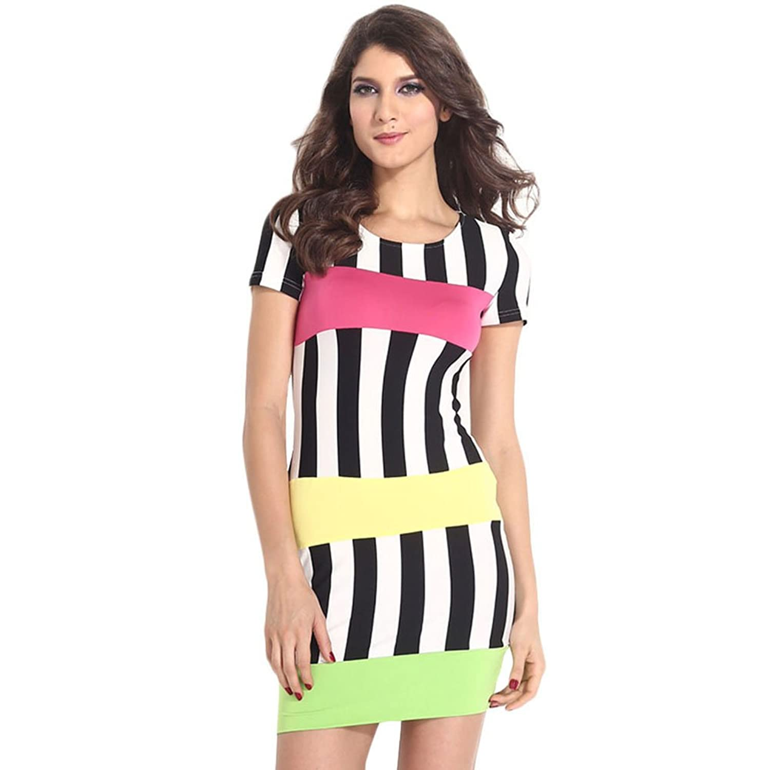iecool Women's Hot Sale Bandage Accent Stripe Midi Bodycon Dress