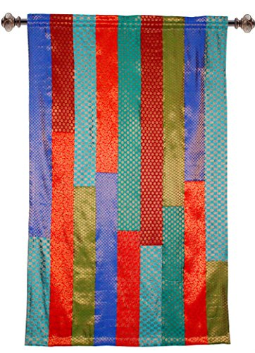 Cotton Craft - Set of 2- Sari Patchwork Rod Pocket Window Panels - Multi Color 50x84. Hand Crafted & Hand Stitched - Generous 6 inch Hem - Truly Sophisticated Luxury - Sari Drapes Panels Curtains
