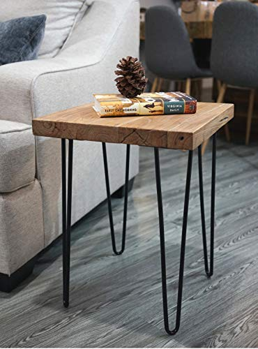 WELLAND Square Old Elm Wood End Table Rustic Surface Side Table (Square Table Side Trunk)