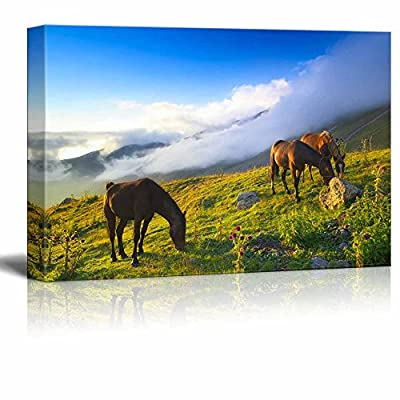 Canvas Prints Wall Art - Beautiful Scenery/Landscape Horses in Mountain Valley | Modern Wall Decor/Home Decoration Stretched Gallery Canvas Wrap Giclee Print & Ready to Hang - 16