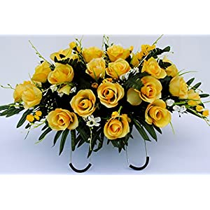 Yellow Rose with White Accent Flowers Cemetery Saddle Arrangement for Headstone Decoration 94