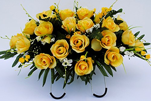 Yellow Rose with White Accent Flowers Cemetery Saddle Arrangement for Headstone (Not Artificial Roses)