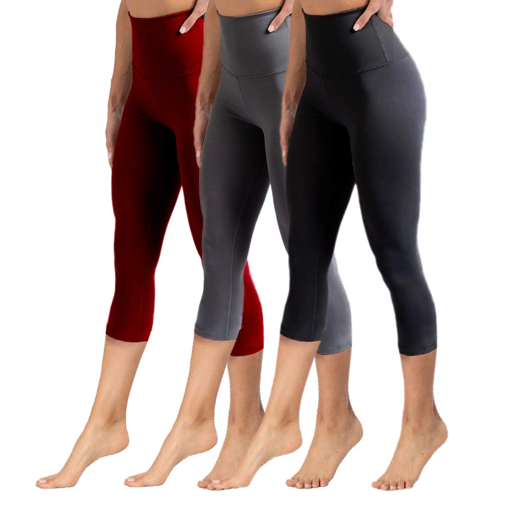 High Waisted Capri Leggings for Women Tummy Control Soft Opaque Slim Pants for Cycling, Yoga, Running (3 Pairs, Burgundy+Dark Grey+Black, One Size (US 2-12))