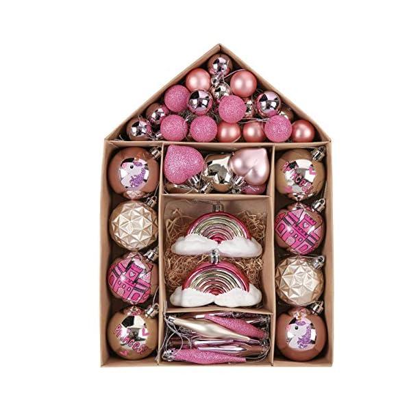 Valery Madelyn Palle di Natale 70 Pezzi di Palline di Natale, 3-10 cm Ricoperte di Zucchero Rosa e Oro Infrangibile Ornamenti di Palla di Natale Decorazione per la Decorazione Dell'Albero di Natale 1 spesavip