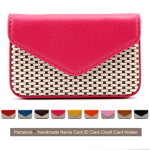 Partstock Multipurpose PU Leather Business Name Card Holder Wallet Leather Credit card ID Case / Holder / Cards Case with Magnetic Shut.Perfect Gift - Rose