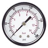 "PneumaticPlus PSB20-200 Air Pressure Gauge 2"" Dial, Center Back Mount, 1/4"" NPT, 0-200 PSI"