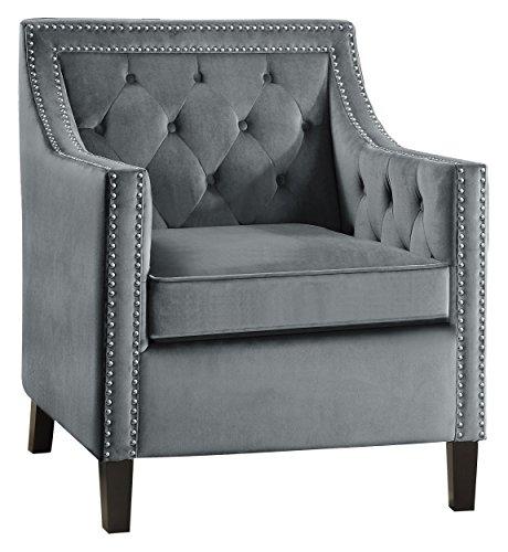 Lexicon Grazioso Velvet Accent Chair, Gray