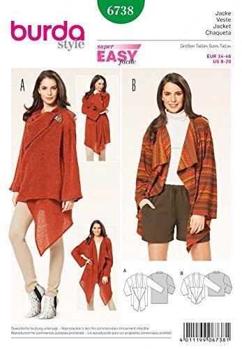 Amazon Burda Ladies Easy Sewing Pattern 40 Waterfall Coat Best Easy Sewing Patterns