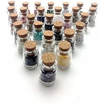 Hengshang 28Mini Gemstone Bottles Tumbled Stones Crystal Chips Healing Gem Crystal Reiki Wicca Stones Set