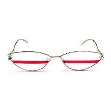 4e5d9823785150 Yefree Cat Eye lunettes de soleil hommes femmes des années 90 rétro Vintage  Slim cadre en