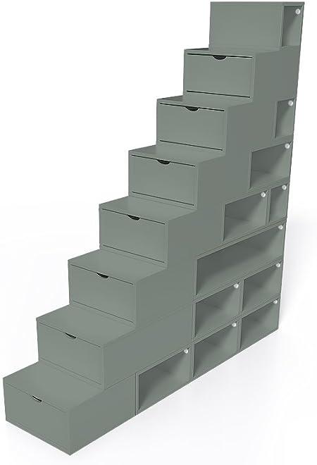 ABC MEUBLES - Escalera Cubo para Guardar Cosas 200 cm - ESC200 - Gris: Amazon.es: Hogar