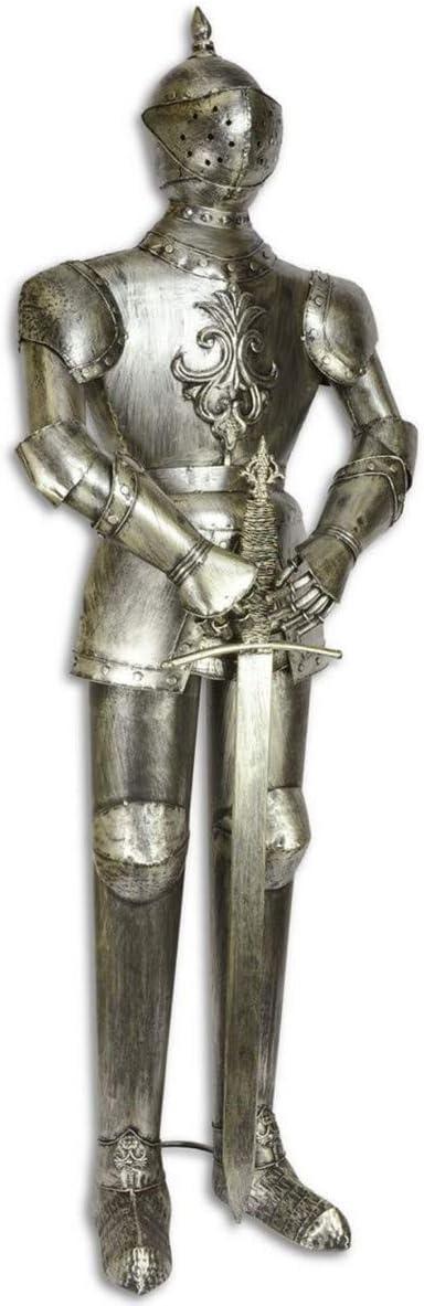 Casa Padrino Armadura Caballero de Hierro con Espada Plata Antigua H. 142,5 cm - Decoración Medieval