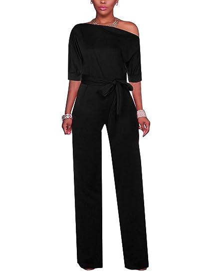 cc502bd473e8 Vilover Women s Wide Leg Slanted One Shoulder Belted Jumpsuits(Black 1