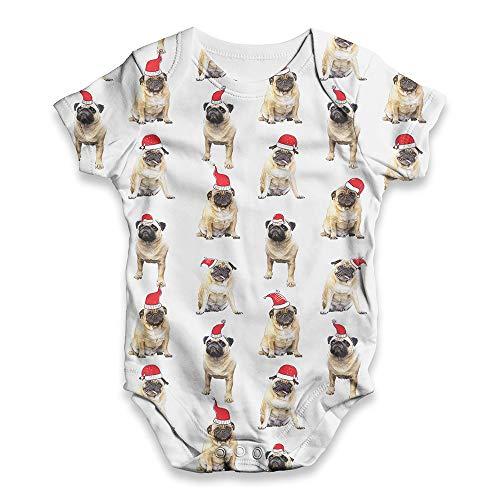 TWISTED ENVY All Over Print Bodysuit Onesie Santa Hat Pugs Pattern White 12-18 Months
