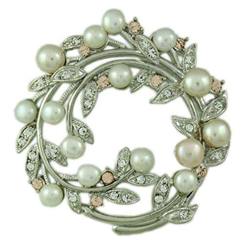 Lilylin Designs Crystal Leaves with Genuine Freshwater Pearls Brooch Pin