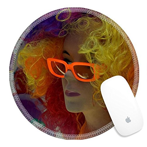 Luxlady Round Gaming Mousepad mannequin with colored hair and sunglass IMAGE ID - Sunglasses Round For Of Images Face