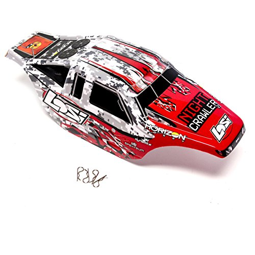 Losi Night Crawler 2.0 4WD Rock: Red, White, & Black Painted Body Shell Cover