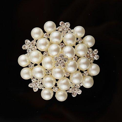 Rhinestone Flower Pearl Brooch Pins Brooches Wedding Bouquet Prom Jewelry Gift