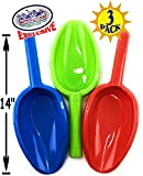 Matty's Toy Stop 14'' Kids Long Handle Sand Scoop Plastic Shovels for Sand & Beach (Red, Blue & Green) Complete Gift Set Bundle - 3 Pack