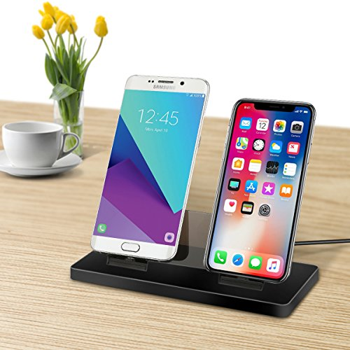 Dock Station Cradle - Magnetic Charger Dock Station,Triple-mode Magnetic Charging Dock Lightning for iPhone, Mirco-USB for Android Smart Phones and Type-C Charging Station Desktop Cradle for Samsung(Charging Base-Black)