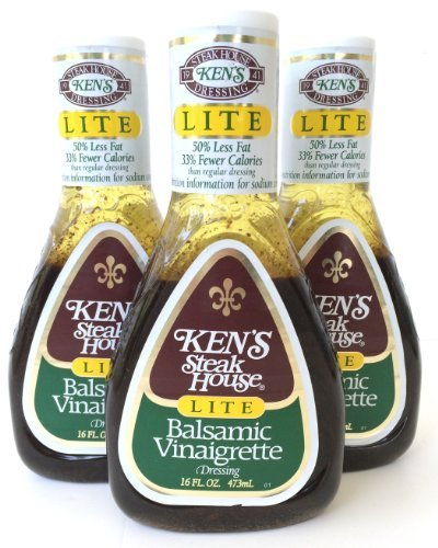 Kens Steak House Lite Balsamic Vinaigrette Dressing, 16 Ounce (Pack of 3) ()