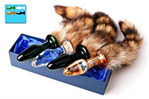 New Arrival! Glass Crystal Anal Plug Butt Plug with Cat Tail Fantasy Anal Play Sex Toy Random Color