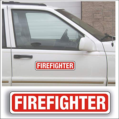 (Magnet Magnetic Sign - Firefighter for Emergency, Fireman, First Responder, Volunteer Car Truck Or Vehicle - 3 x 14 inch Block Sold as Each)