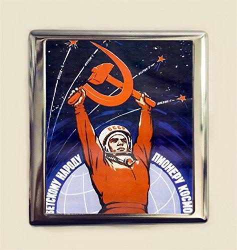 Soviet Union USSR Cigarette Case Business Card ID Holder Wallet Communist Hammer and Sickle Propaganda Russia Space Race Cosmonaut