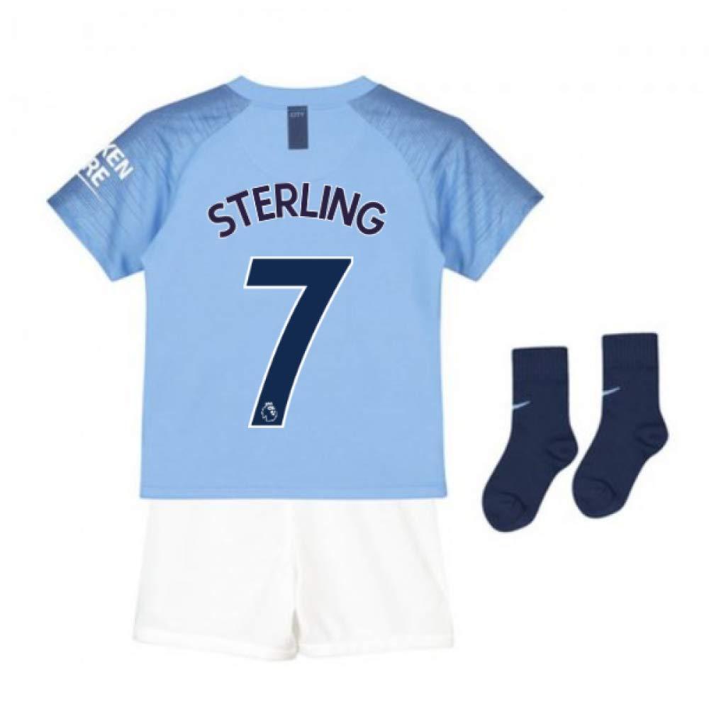 UKSoccershop 2018-2019 Man City Home Nike Baby Kit (Raheem Sterling 7)