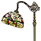 Tiffany Style Reading Floor Lamp Stained Glass with Tropical Birds Lampshade 64 Inch Tall Antique Arched Base for Bedroom Living Room Lighting Table Set Gifts S805 WERFACTORY