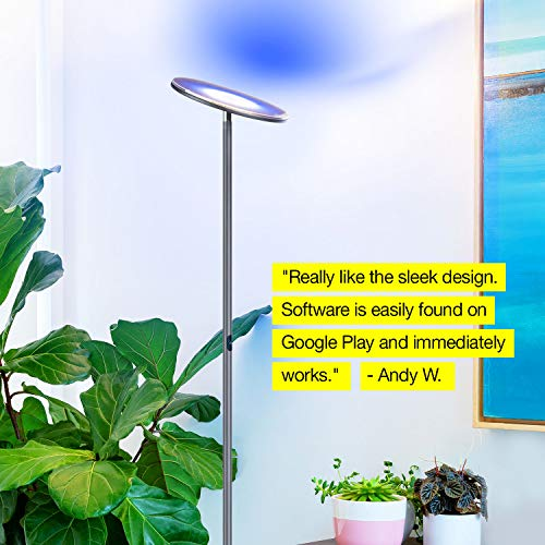 Brightech Sky Color Changing Floor Lamp Dimmable Light - Remote via iOs & Android App Living & Bedrooms - Adjustable Pivoting -