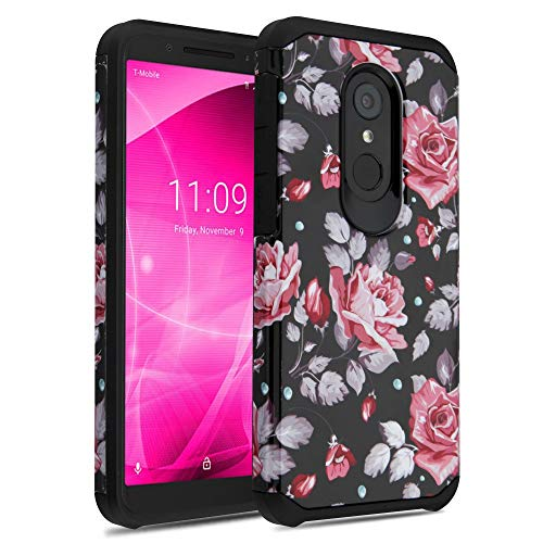 T-Mobile REVVL 2 (5.5) Case, JoJoGold Simple Hybrid, Heavy Duty 2 Piece Hard Cover, Comes with Tempered Glass Screen Protector - Vintage Roses