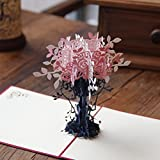 Messagee 3D Pop-up Romantic Tree Greeting Card Envelope Mother's Day gift Pink