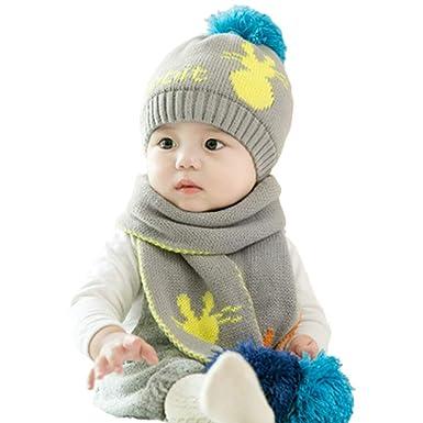 b48a67a9e34 Baby Cute Knitted Beanie Bobble Hat and Scarf Set Newborn Girls Boys Winter  Warm Pom Pom