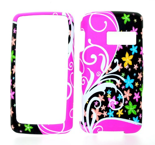 (Black & Pink Rainbow Whirl Flower Rubberized Snap on Hard Skin Shell Protector Cover Case for Lg Rumor Touch Ln510)