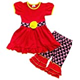 So Sydney Girls Toddler 2-3 Pc Polka Dot Minnie Mouse Ruffle Pants Tee Outfit (XXL (7), Mouse Print Red & Yellow)