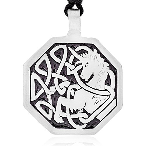 Gaelic Jewelry - Dan's Jewelers Celtic Knot Unicorn Pendant Necklace + Silver Plated Clasp, Fine Pewter Jewelry