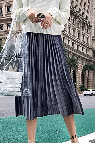 Jupe De Velours lastique Grey Jupes Plisse Hiver Les Femmes lgant 0wa7T5x