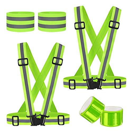 Corrines Warnweste (2 STK.),Reflektierende Weste Reflexstreifen-Einstellbar leicht und elastisch.Mit Vier Reflexstreifen,für Laufen, Joggen, Radfahren, Wandern, Motorrad Fahren.