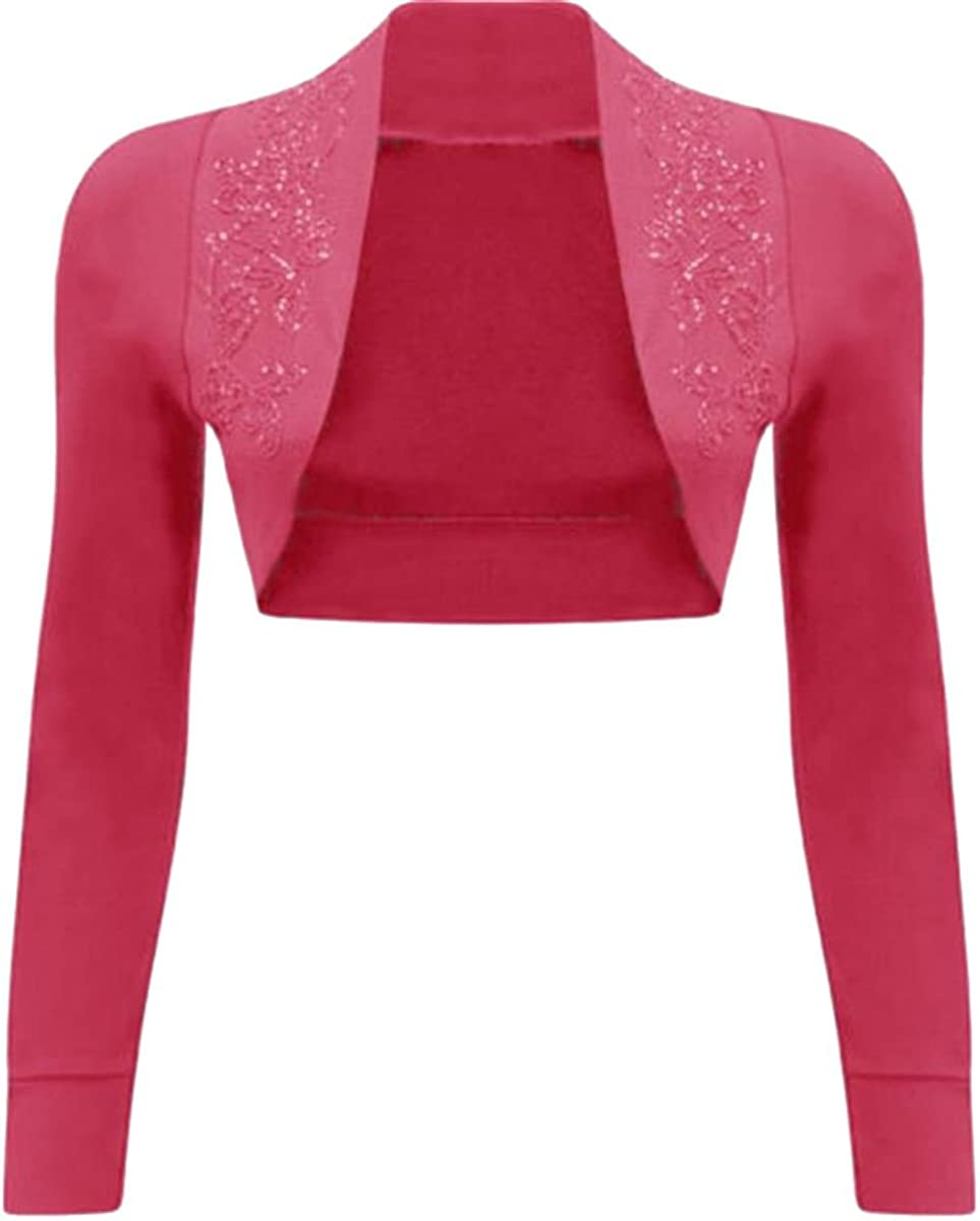 Click Selfie New Ladies Embroidery Floral Beaded Design Long Sleeve Shrug Cardigan Tops