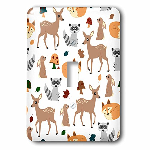 3dRose lsp_242313_1 Woodland Animals Pattern, Fawn Fox Raccoon Rabbit Single Toggle Switch by 3dRose