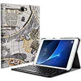 Fintie Samsung Galaxy Tab A 10.1 (2016 NO S Pen Version) Keyboard Case, Slim Lightweight Stand Cover w/Magnetically Detachable Wireless Bluetooth Keyboard Compatible with Tab A 10.1 Inch, Map White