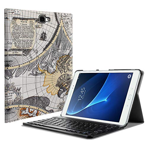 Fintie Samsung Galaxy Tab A 10.1 (NO S Pen Version) Keyboard Case, Slim Lightweight Stand Cover w/Magnetically Detachable Wireless Bluetooth Keyboard Compatible with Tab A 10.1 Inch, Map White