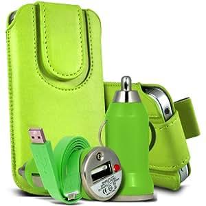 Alcatel One Touch Star 6010d premium protección PU botón magnético ficha de extracción Slip In Pouch Pocket Cordón piel cubierta de la caja de la cubierta rápida, Bullet Rápido Cargador USB para coche con luz LED y de carga Super Fast 1 metro plana de transferencia de datos cable de sincronización verde por Spyrox